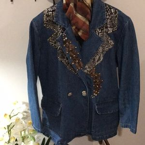 Double Breast Jean Jacket with animal patchwork